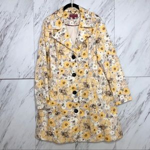 EUC Merona Floral Flower Print Trench Coat SZ L